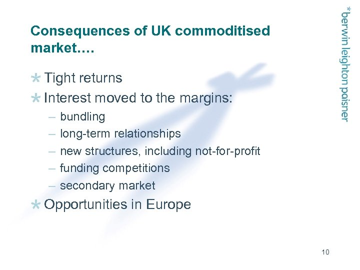 Consequences of UK commoditised market…. Tight returns Interest moved to the margins: – –