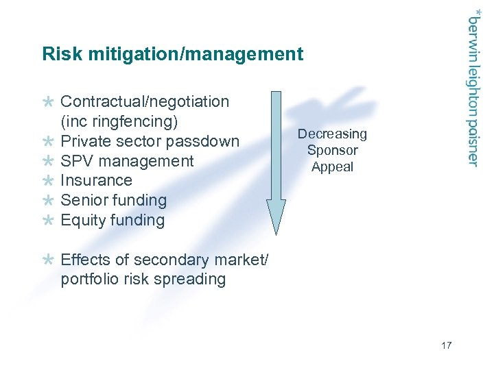 Risk mitigation/management Contractual/negotiation (inc ringfencing) Private sector passdown SPV management Insurance Senior funding Equity