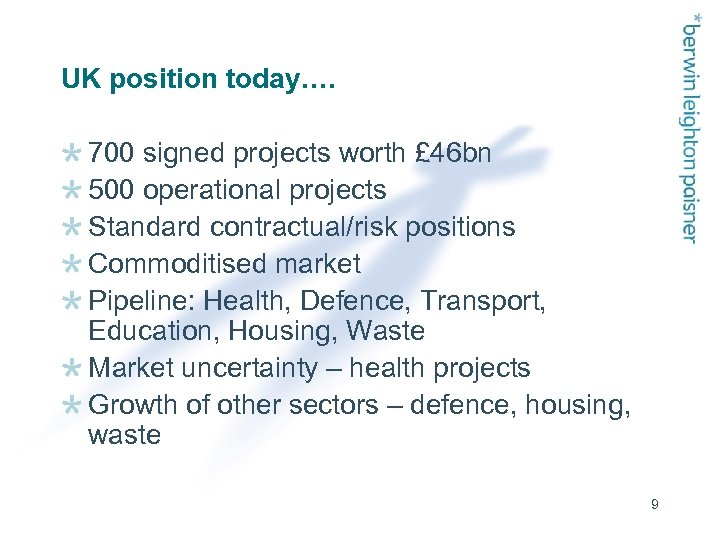 UK position today…. 700 signed projects worth £ 46 bn 500 operational projects Standard