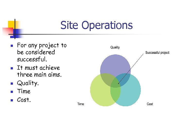 Site Operations n n n For any project to be considered successful. It must