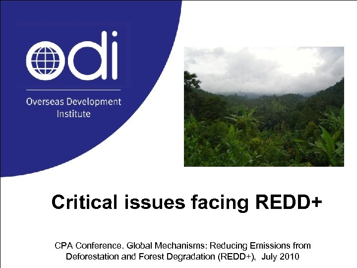 Critical issues facing REDD+ CPA Conference. Global Mechanisms: Reducing Emissions from Deforestation and Forest