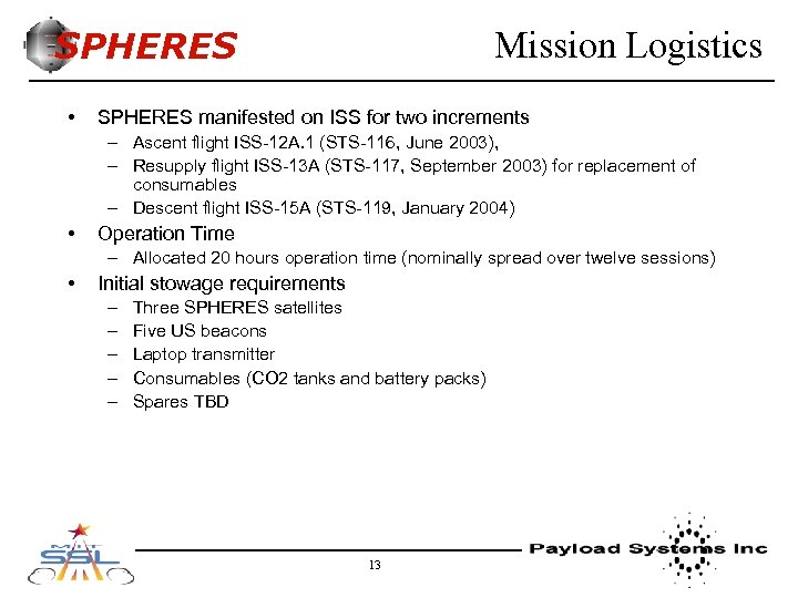 SPHERES • Mission Logistics SPHERES manifested on ISS for two increments – Ascent flight
