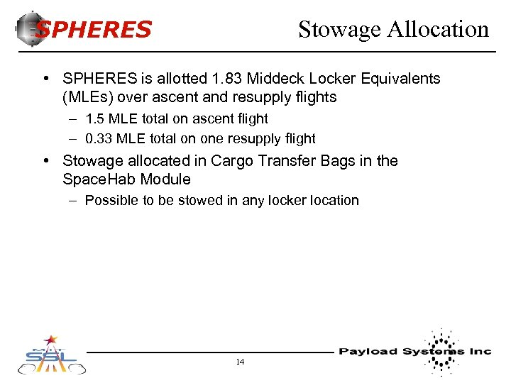 SPHERES Stowage Allocation • SPHERES is allotted 1. 83 Middeck Locker Equivalents (MLEs) over