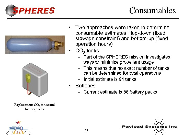 SPHERES Consumables • Two approaches were taken to determine consumable estimates: top-down (fixed stowage