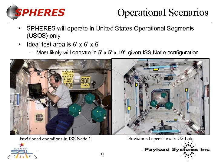 SPHERES Operational Scenarios • SPHERES will operate in United States Operational Segments (USOS) only