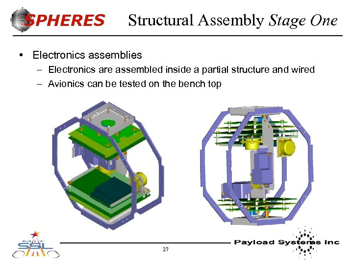 SPHERES Structural Assembly Stage One • Electronics assemblies – Electronics are assembled inside a