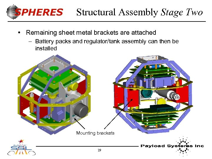 SPHERES Structural Assembly Stage Two • Remaining sheet metal brackets are attached – Battery