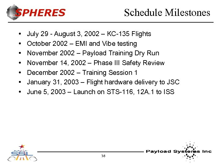 SPHERES • • Schedule Milestones July 29 - August 3, 2002 – KC-135 Flights