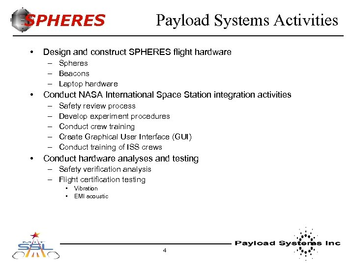 SPHERES • Payload Systems Activities Design and construct SPHERES flight hardware – Spheres –