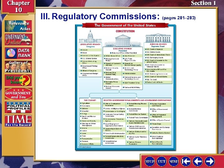 III. Regulatory Commissions: (pages 281– 283)