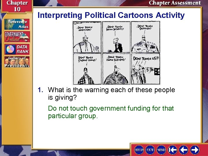 Interpreting Political Cartoons Activity 1. What is the warning each of these people is