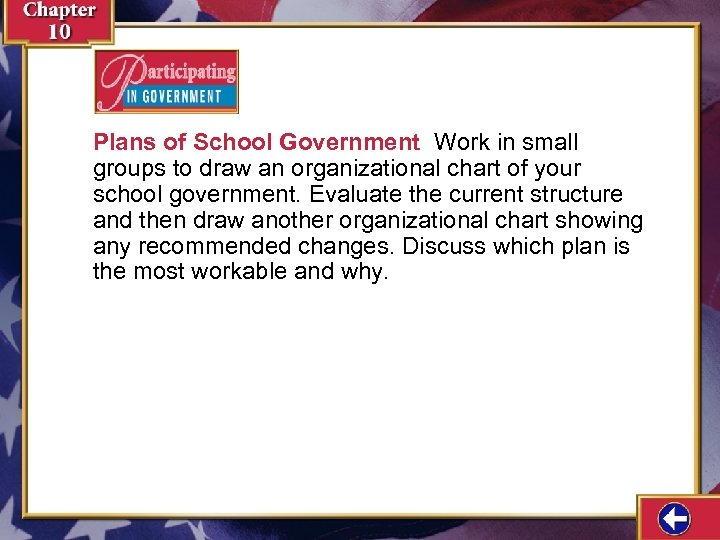 Plans of School Government Work in small groups to draw an organizational chart of