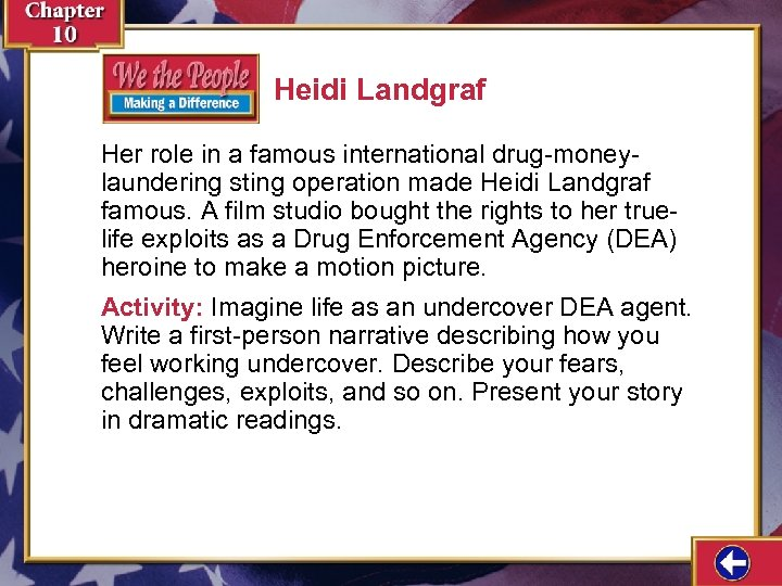 Heidi Landgraf Her role in a famous international drug-moneylaundering sting operation made Heidi Landgraf