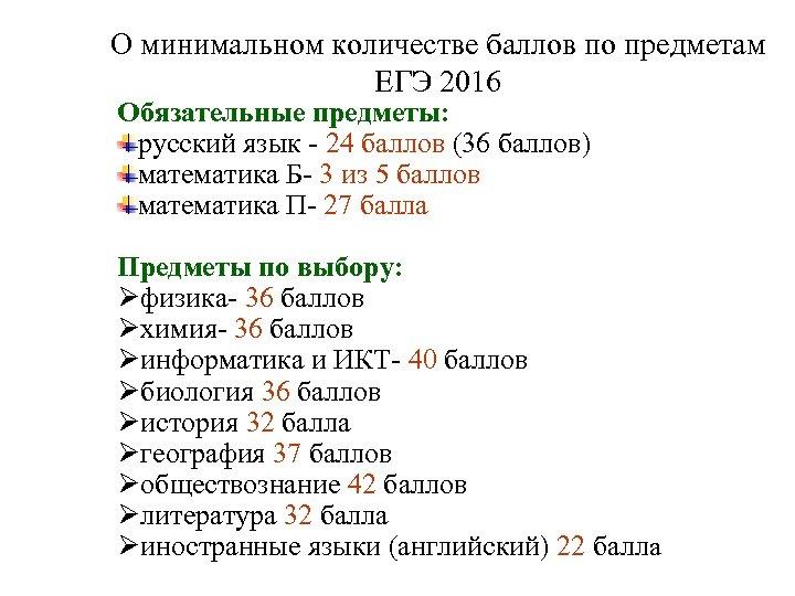 О минимальном количестве баллов по предметам ЕГЭ 2016 Обязательные предметы: русский язык - 24