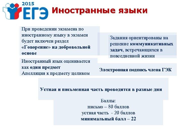 2015 Иностранные языки При проведении экзамена по иностранному языку в экзамен будет включен раздел
