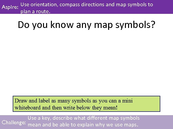Aspire: Use orientation, compass directions and map symbols to plan a route. Do you