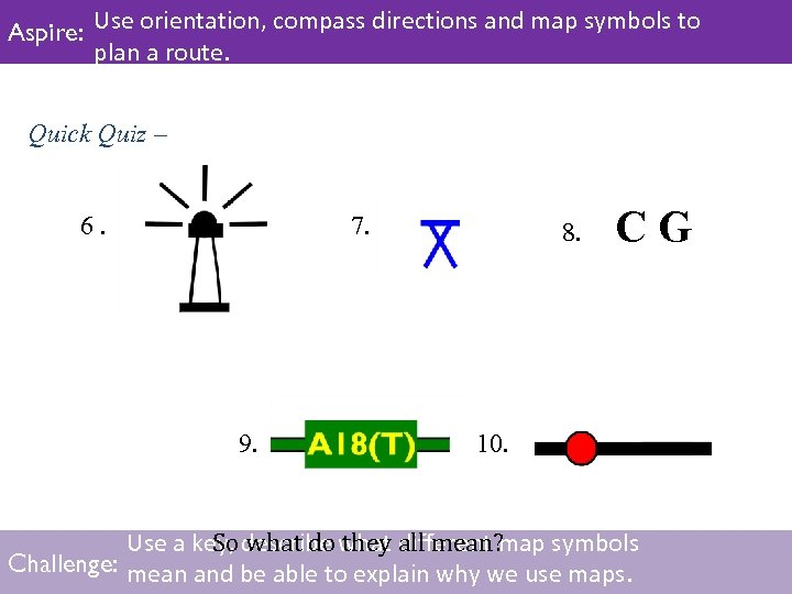 Aspire: Use orientation, compass directions and map symbols to plan a route. Quick Quiz