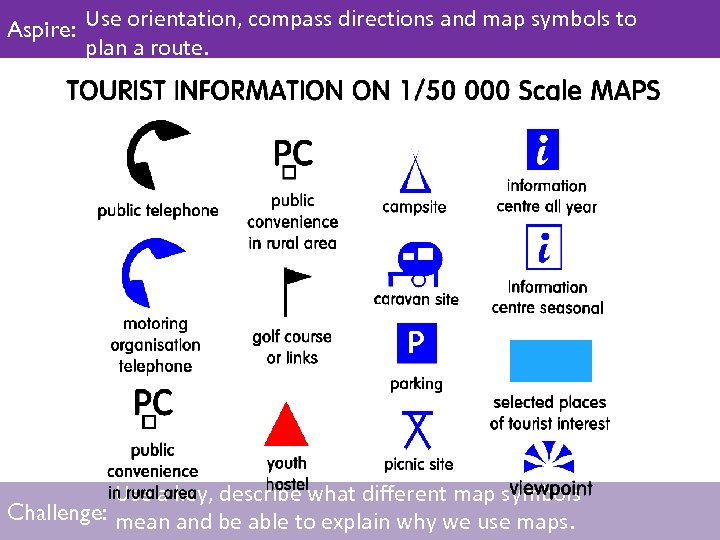 Aspire: Use orientation, compass directions and map symbols to plan a route. Use a