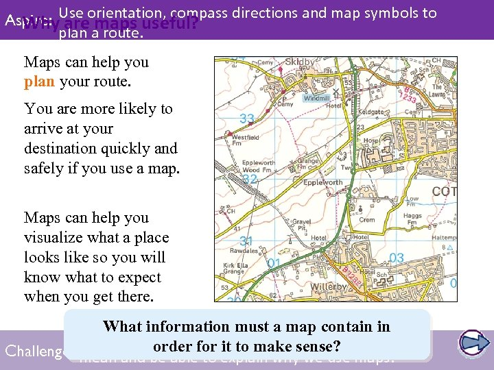 Aspire: Use orientation, compass directions and map symbols to Whyplan a route. useful? are