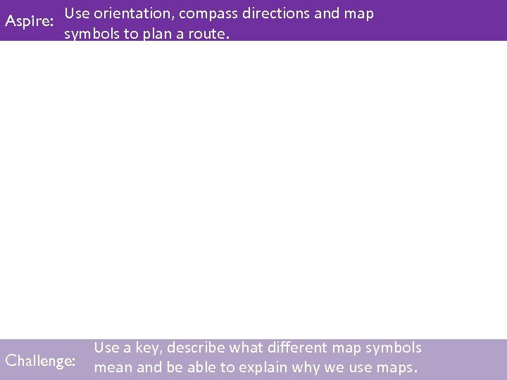 Use orientation, compass directions and map Aspire: Use orientation, compass directions and map symbols