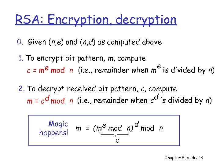 RSA: Encryption, decryption 0. Given (n, e) and (n, d) as computed above 1.