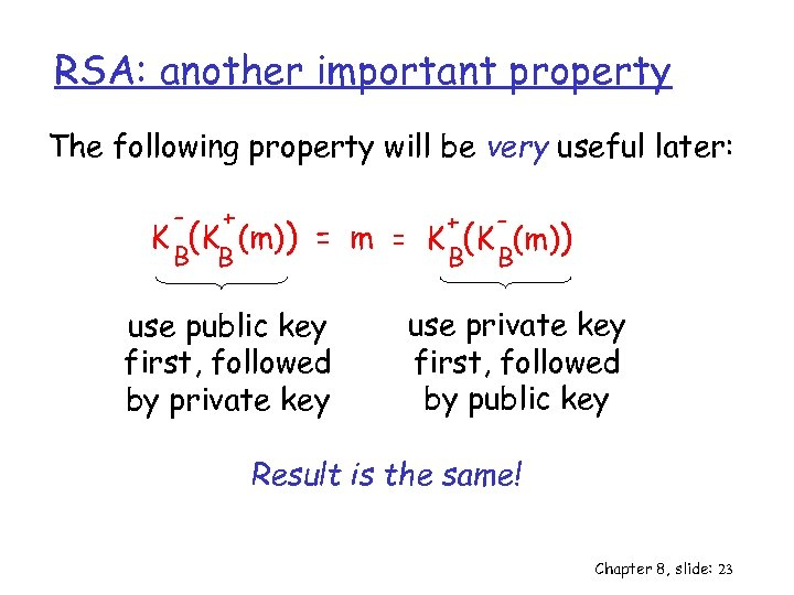 RSA: another important property The following property will be very useful later: - +