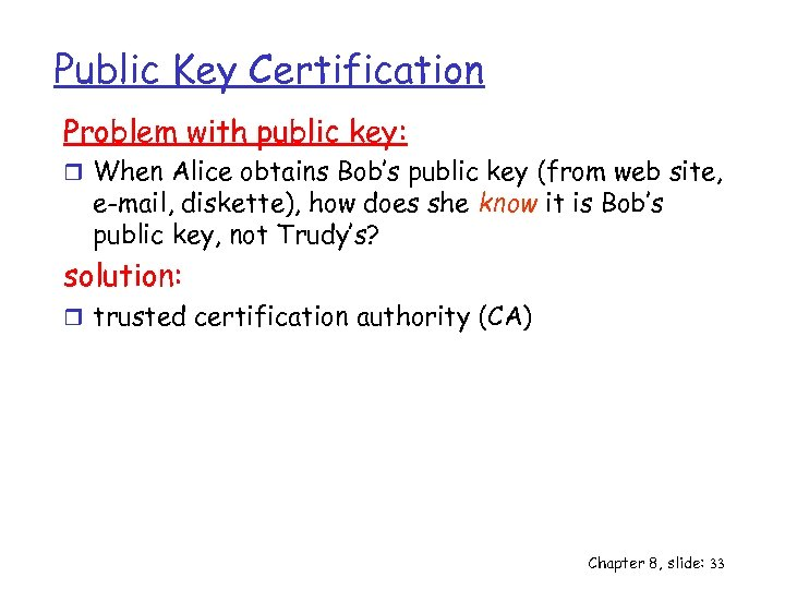 Public Key Certification Problem with public key: r When Alice obtains Bob's public key