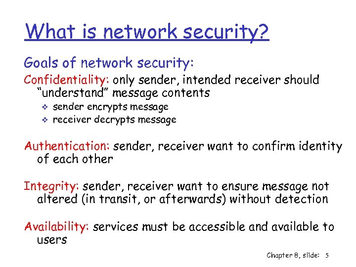 What is network security? Goals of network security: Confidentiality: only sender, intended receiver should