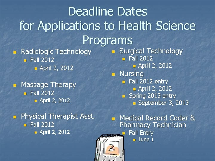 Deadline Dates for Applications to Health Science Programs n Radiologic Technology n n Fall