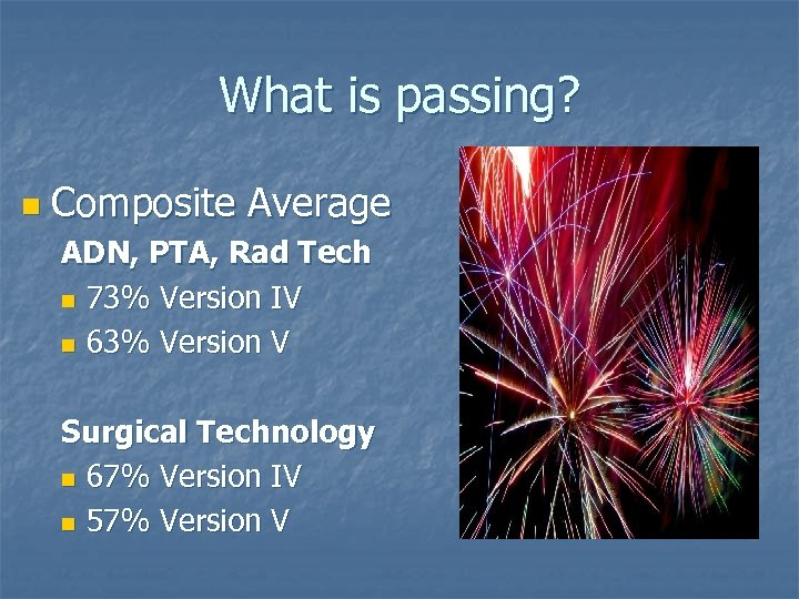 What is passing? n Composite Average ADN, PTA, Rad Tech n 73% Version IV