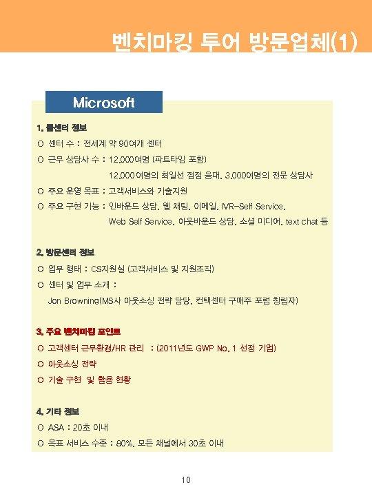 벤치마킹 투어 방문업체(1) Microsoft 1. 콜센터 정보 ○ 센터 수 : 전세계 약 90여개