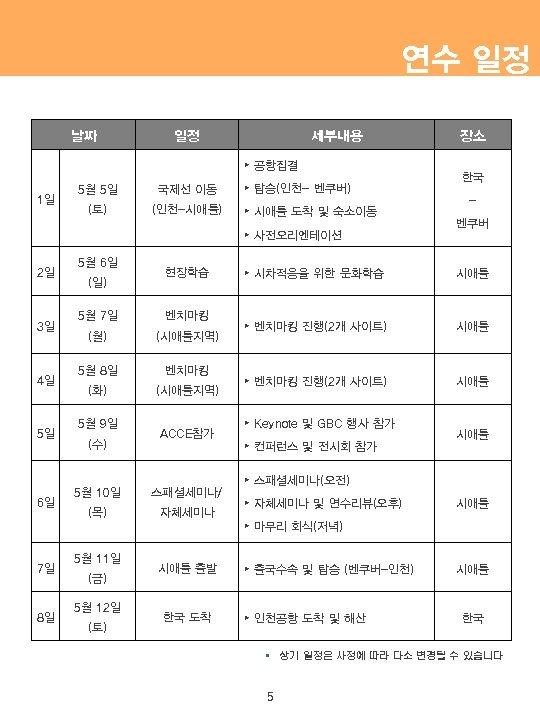 연수 일정 날짜 일정 세부내용 ▸ 공항집결 1일 5월 5일 국제선 이동 (토) (인천-시애틀)