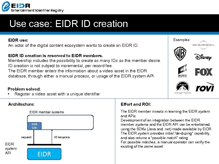 Use case: EIDR ID creation EIDR use: An actor of the digital content ecosystem