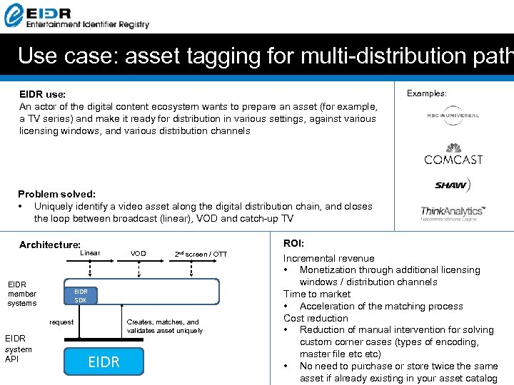 Use case: asset tagging for multi-distribution path EIDR use: An actor of the digital