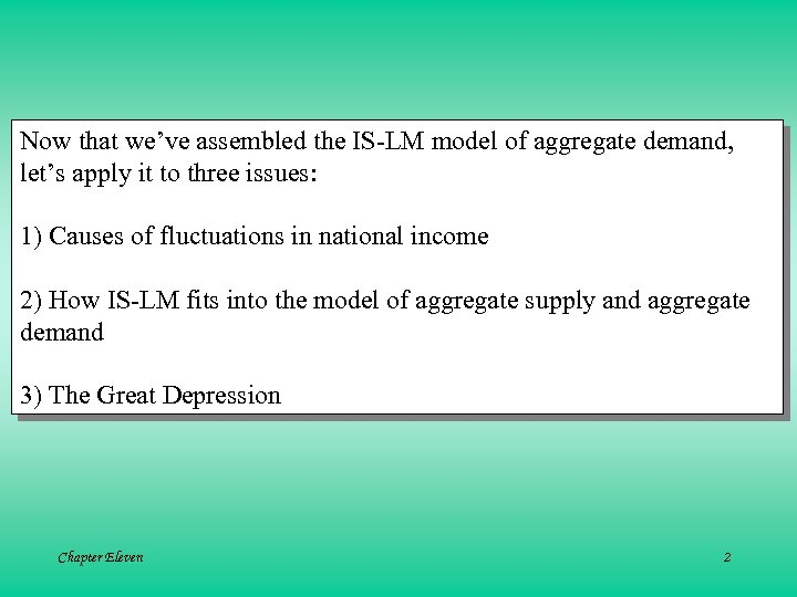 Now that we've assembled the IS-LM model of aggregate demand, let's apply it to