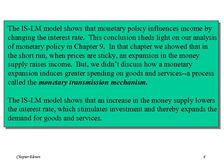 The IS-LM model shows that monetary policy influences income by changing the interest rate.