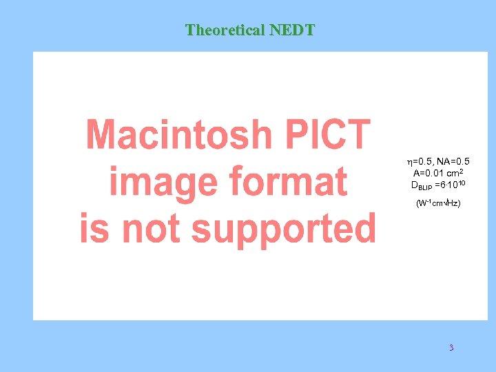 Theoretical NEDT h=0. 5, NA=0. 5 A=0. 01 cm 2 DBLIP =6. 1010 (W-1
