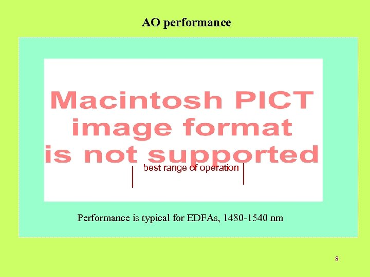AO performance best range of operation Performance is typical for EDFAs, 1480 -1540 nm