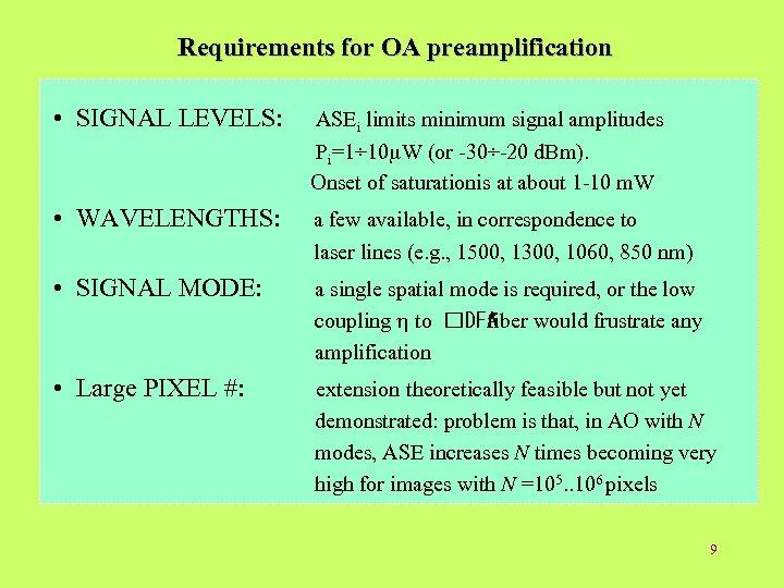 Requirements for OA preamplification • SIGNAL LEVELS: ASEi limits minimum signal amplitudes Pi=1÷ 10