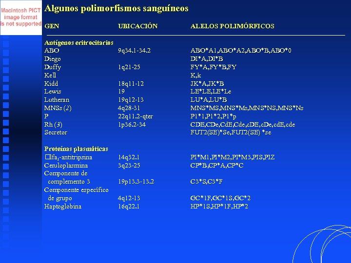 Algunos polimorfismos sanguíneos GEN Antígenos eritrocitarios ABO Diego Duffy Kell Kidd Lewis Lutheran MNSs
