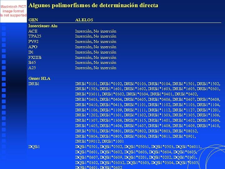 Algunos polimorfismos de determinación directa GEN Inserciones Alu ACE TPA 25 PV 92 APO
