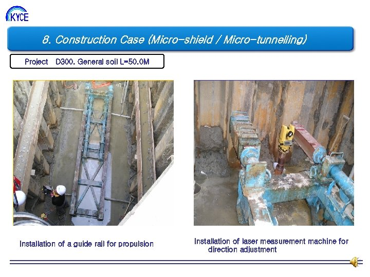 8. Construction Case (Micro-shield / Micro-tunnelling) Project D 300. General soil L=50. 0 M