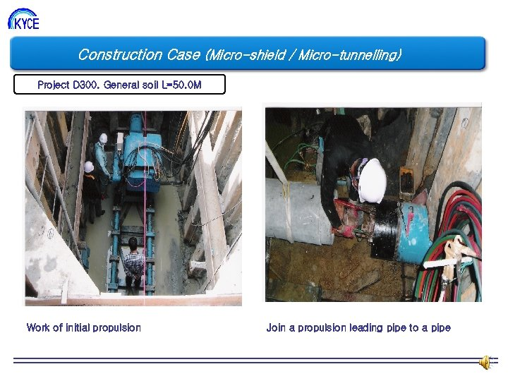 Construction Case (Micro-shield / Micro-tunnelling) Project D 300. General soil L=50. 0 M Work