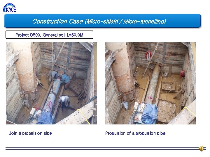 Construction Case (Micro-shield / Micro-tunnelling) Project D 500. General soil L=60. 0 M Join