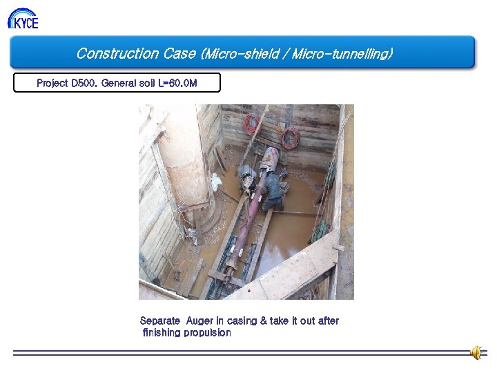 Construction Case (Micro-shield / Micro-tunnelling) Project D 500. General soil L=60. 0 M Separate