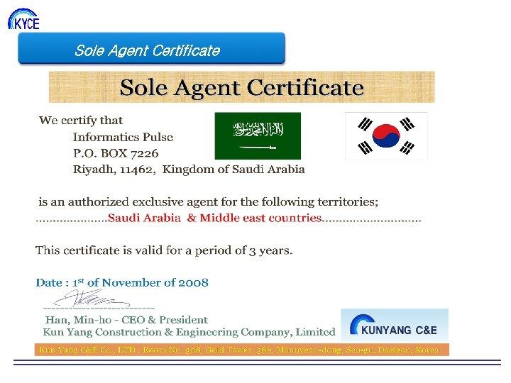 Sole Agent Certificate