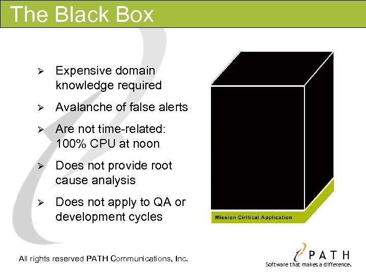 The Black Box Ø Expensive domain knowledge required Ø Avalanche of false alerts Ø