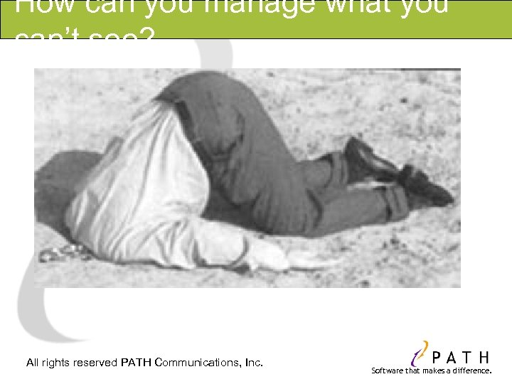 How can you manage what you can't see? All rights reserved PATH Communications, Inc.