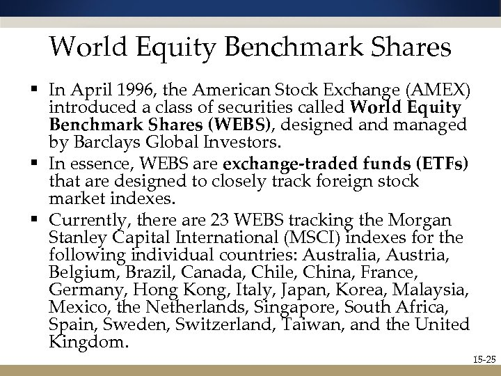 World Equity Benchmark Shares § In April 1996, the American Stock Exchange (AMEX) introduced