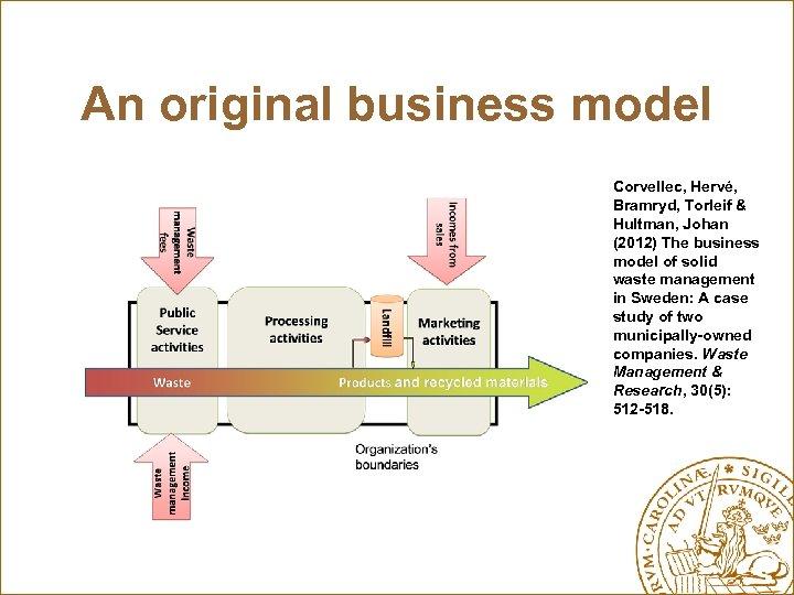 An original business model Corvellec, Hervé, Bramryd, Torleif & Hultman, Johan (2012) The business